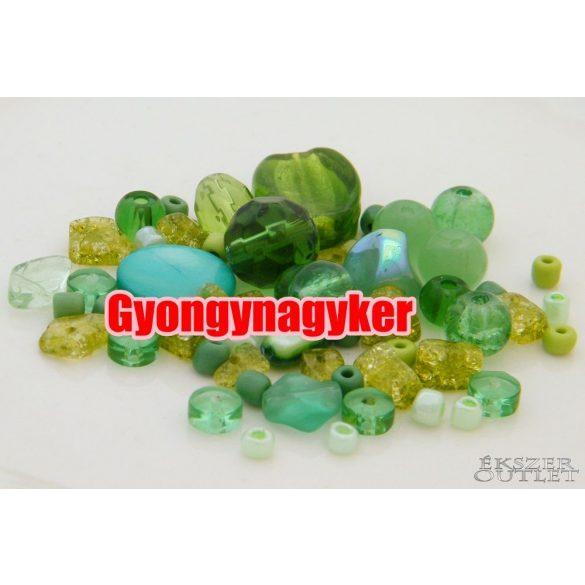 Vegyes gyöngy válogatás. Üveg, ásvány gyöngy mix. 20g. 8 szín! Leárazva !