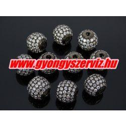 Cirkónia kristályos köztes gyöngy. 10mm. Fekete szín, fehér kristállyal.