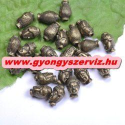 Buddha gyöngy, fém köztes gyöngy. Antik bronz szín. 10x13mm.