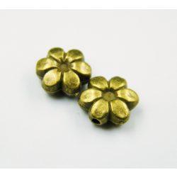Virág köztes fémgyöngy. 9.5x9x4mm. Antik bronz szín.