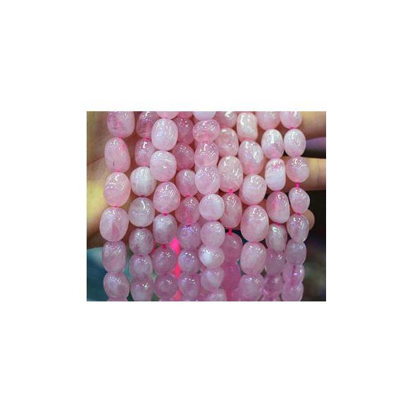 Rózsakvarc ásványgyöngy. Nugget. 10x10-12mm.