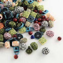 Akril gyöngy, színes mix. 10g/csomag.