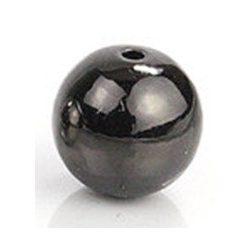 Golyó. 8mm. Fekete szín. Fémgyöngy, köztes gyöngy.