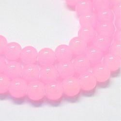 Üveggyöngy. 6mm. Rózsaszín.