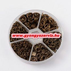 Fém karika. Szerelő karika. Antik bronz szín. 4-10mm. 1745db + ajándék tároló doboz!