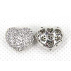 Cirkon kristályos szív gyöngy. 15x10mm. Platina szín.