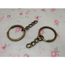 Kulcstartó karika, lánccal. Antik bronz szín.