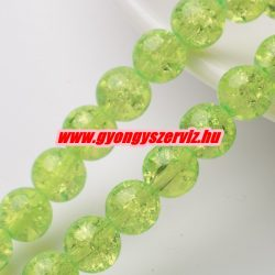 Roppantott üveggyöngy. 6mm, 8mm. Világos zöld.