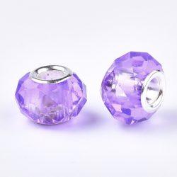 Pandora stílusú üveggyöngy. Csiszolt kristály. Viola.