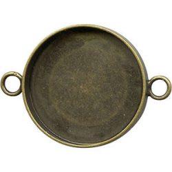 Kaboson alap, összekötő elem,  25mm lencséhez. Kétoldalas! Antik bronz szín.