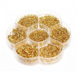 Nyitott szererő karika. 3-10mm. 1450db + ajándék tároló doboz. Arany szín.