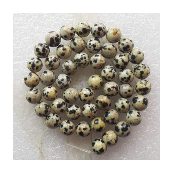 Ásványgyöngy, féldrágakő gyöngy. Dalmatínerkő. 10mm. Leárazva !