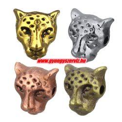 Leopárd fej köztes fémgyöngy. 10x9mm. 8 színben. Válassz színt!
