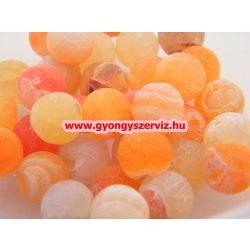Ásványgyöngy, féldrágakő gyöngy. Repesztett. Narancs achát. 10mm. Leárazva !