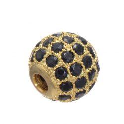Cirkon kristályos köztes gyöngy.8mm. Arany szín, fekete kristállyal.