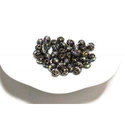 Kristályos köztes gyöngy, rondell. 6mm. Antik bronz szín, AB kristály.