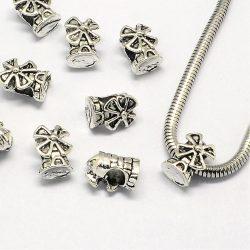 Pandora stílusú fémgyöngy.  Szélmalom. Antik ezüst szín.