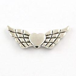Nagy szárny,szívvel. Köztes gyöngy. Antik ezüst szín.