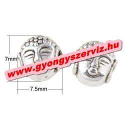Buddha gyöngy, fém köztes gyöngy. Antik ezüst szín. 7.5x7mm.