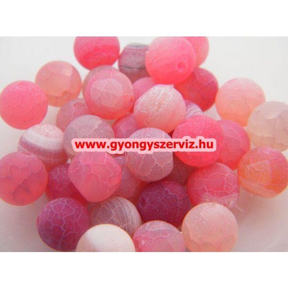 Ásványgyöngy, féldrágakő gyöngy. Repesztett. Pink achát.  10mm. Leárazva !