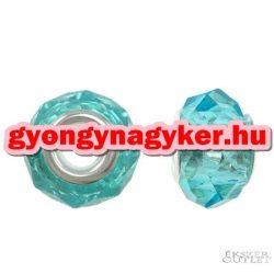 Pandora stílusú üveggyöngy. Lámpagyöngy. Kék kristaly. Leárazva!