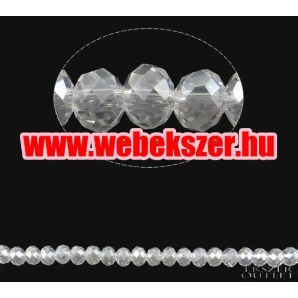 Üveggyöngy. Csiszolt kristály gyöngy. 8x10mm. Csillogó kristály. Mindig akcióban!