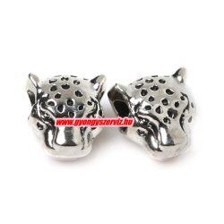 Leopárd fej köztes fémgyöngy. 12x11mm. Antik ezüst szín.