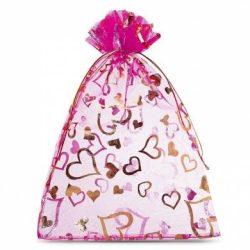 Organza tasak 9.5x12cm. Pink színű, szívecskés.