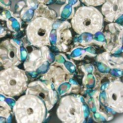 Rondell. Strasszos köztes gyöngy, rondella. Hullámos. 6mm. Kék, irrizáló.