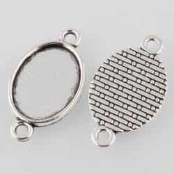 Kaboson alap, összekötő elem,  18x13mm lencséhez. Antik ezüst szín.