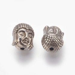 Buddha fej, köztes fémgyöngy. Fekete.