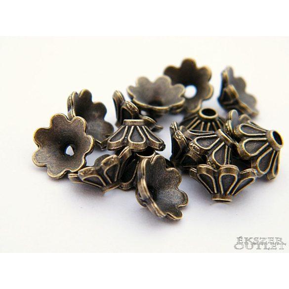 Gyöngykupak. Fém gyöngy. Virág.  9 x 4 mm. Antik bronz.  Leárazva!