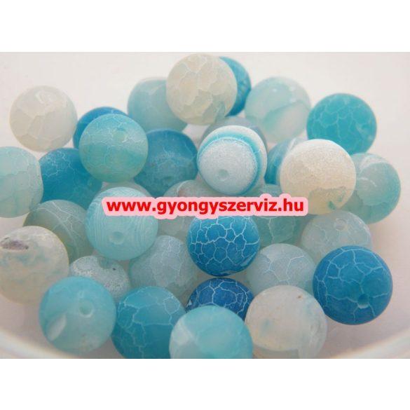 Ásványgyöngy, féldrágakő gyöngy. Repesztett. Kék achát. 10mm. Leárazva !