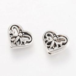 Szív alakú, pillangós, fém köztes gyöngy. Antik ezüst szín.