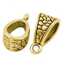 Charm tartó, medál tartó, köztes fémgyöngy. Antik arany szín. 14.5x7.5x8.5mm.