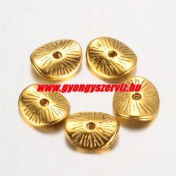 Hajlított köztes fémgyöngy. 9.5x8.5mm. Antik arany szín.