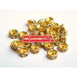 Strasszos fém köztes, rondell. 6x2.5mm. Egyenes antik arany.