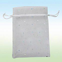 Organza tasak. 10x12cm. Ezüst pöttyös, fehér.