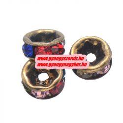 Rondell. Strasszos köztes gyöngy, rondella. 6mm. Antik bronz, szívárvány. AAA.